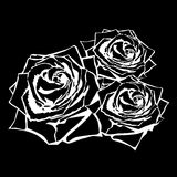 White silhouette of rose with leaves. Stock Images