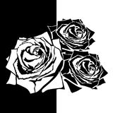White silhouette of rose with leaves. Stock Photo
