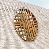 White silicate brick wall And wooden formwork for round window.  stock images