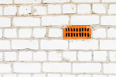 White silicate brickwork wall. With vent hole Royalty Free Stock Photography