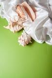 White silk with shells. Curvy white silk drapery on dark background Royalty Free Stock Photography