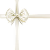 White silky bow ribbon Stock Photos