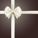 White silky bow ribbon Royalty Free Stock Photo