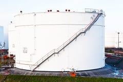 White silo tank in a tank farm Royalty Free Stock Photo
