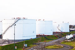 White silo tanks in a tank farm with blue sky Royalty Free Stock Photography