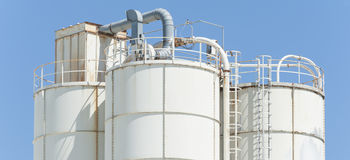 White silos for lime Stock Photography