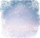 White and silver abstract bokeh lights. defocused background with snowflake overlay stock images