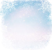 White and silver abstract bokeh lights. defocused background with snowflake overlay.  Royalty Free Stock Photo