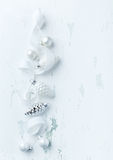 White and silver Christmas ornaments Royalty Free Stock Photography