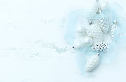 White and silver Christmas ornaments Royalty Free Stock Image