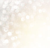 White silver and gold abstract bokeh lights. defocused background. Stock Photo