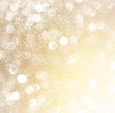 White silver and gold abstract bokeh lights. defocused background stock image