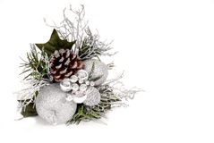 White, silver and green Christmas Ornament with pine cone. Isolated on white Stock Photos
