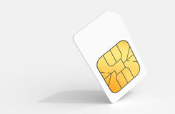 White Sim card above light gray background Royalty Free Stock Images