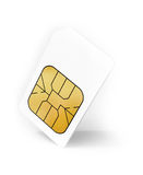White Sim card above light gray background Royalty Free Stock Image