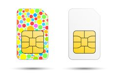 White sim card and colorful sim card on a white background.  Royalty Free Stock Photo