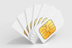 White SIM cards in a deck. White phone SIM cards in a deck above light gray background. 3d render illustration Stock Photography