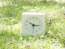 White simple clock on lawn yard, 10:15 ten fifteen Royalty Free Stock Photos