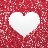 White simple heart on red abstract background Stock Image