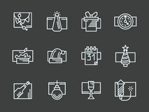 White simple line Happy New Year icons set Stock Photography