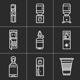 White simple line icons for water coolers Royalty Free Stock Image
