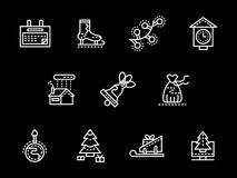 White simple line New Year icons. Winter holidays greeting white simple line style icons collection on black background. Merry Xmas and Happy New Year. Elements Stock Image