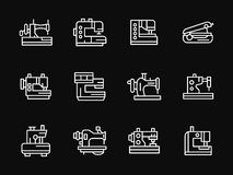 White simple line sewing machine icons. Industrial and household sewing machines and overlock. Equipment for atelier, fashion industry, hobby. Set of white line Stock Images