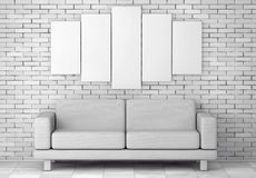 White Simple Modern Sofa Furniture under Blank White Poster. 3d. White Simple Modern Sofa Furniture under Blank White Poster in front of brick wall. 3d Rendering Royalty Free Stock Photography
