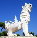 White Singha statue Royalty Free Stock Images