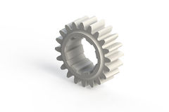 White single sprocket (computer generated gear). White single sprocket (3D computer generated gear Royalty Free Stock Photos