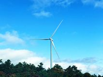 A white single wind generating by the highway. A white single wind generating against blue sky by the highway in Plymouth Massachusetts United States stock photography