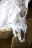 White Singlet In Laundry Basket Royalty Free Stock Photography