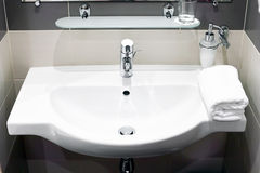 White  sink and towell in SPA salon. Stock Images