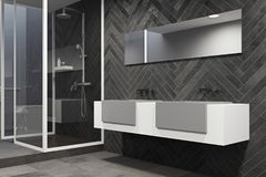 White sink vanity unit in a black bathroom side. White and gray sink vanity unit with two vertical mirrors in a black wood bathroom interior with a concrete royalty free illustration