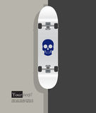 White skateboard blue skull Royalty Free Stock Photos