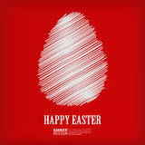 White sketch easter egg on red background Royalty Free Stock Photos