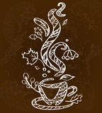 A white sketch of hot cup of autumn coffee Royalty Free Stock Photos