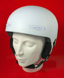 White Ski Helmet. On Red  Background Stock Photo