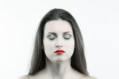 White skin woman with eyes closed Stock Photo