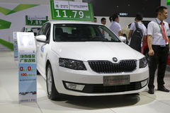 White skoda octavia car 117,900 cny. 2014, west taiwan strait auto expo held in amoy city, china Stock Photography