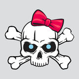 White skull with bow  t-shirt illustration Royalty Free Stock Image