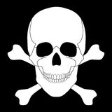 White skull and crossbones on a black background Stock Photo