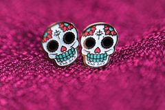 White Skull with makeup. Day of the Dead stock photos