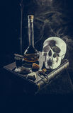 White skull in mystical attributes Stock Photography
