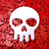 White skull on pool of red skulls Stock Photo