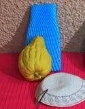 White skullcap and ritual etrog fruit stock image
