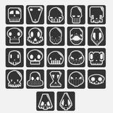 White skulls cartoon vector set. White skulls cartoon set. elements for avatar or halloween Stock Photo