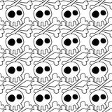 White Skulls Seamless Background. Skulls with crossed bones pattern. Black and white seamless tile royalty free illustration