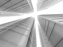 White skyscapers 3d rendering Royalty Free Stock Photos