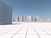 White skyscapers 3d rendering Royalty Free Stock Images